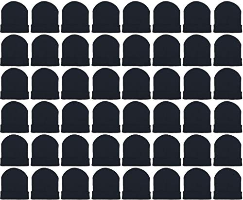 Cheap Winter Hats (48 Pack Winter Beanies, Wholesale Bulk Cold Weather Warm Knit Skull Caps, Mens Womens Unisex Hats)