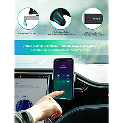 Car Phone Mount - RYYMX Cell Phone Holder for Car : One Hand Operated Car Phone Holder Air Vent with Double Clips, Compatible iPhone Xs Max XR X 8 8P 7 7P 6P 6, Samsung Galaxy S8 S9, Google, Cellphone