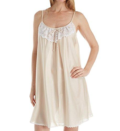 Amanda Rich Spaghetti Strap Lace Trim Knee Length Gown (165-SH) 2X/Champagne Amanda Knee Length Nightgown