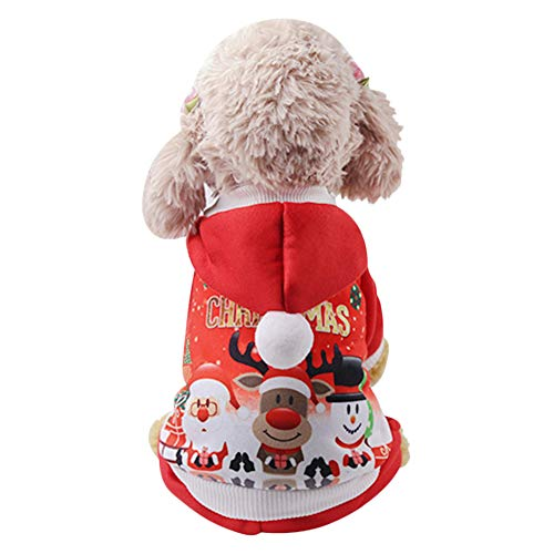 Christmas Pet Dog Clothes Winter Warm Dog Hoodie Sweatshirt Cute Puppy Jacket Cold Weather Coats Xmas Santa Dog Costumes Winter Apparel for Small Medium Dog Cat Kitty Jumpsuit Outfit(L)