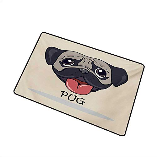 Diycon Door mat Pug Cartoon Pug Dog Caricature with Its Tongue Out Happy Face Animal Fun Illustration W35 xL59 Durable