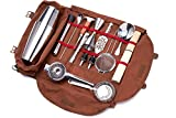 Meitian Cocktail Shaker Set Bartender Kit Bag ,14-Piece Bar Tool Set for Traveling, Fully Padded, One Size, Brown