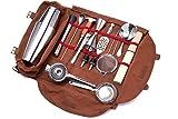 Meitian Cocktail Shaker Set Bartender Kit Bag ,14-Piece Bar Tool Set for Traveling, Fully Padded, One Size, Brown