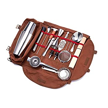 Image of Meitian Cocktail Shaker Set Bartender Kit Bag ,14-Piece Bar Tool Set for Traveling, Fully Padded, One Size, Brown Bar Sets