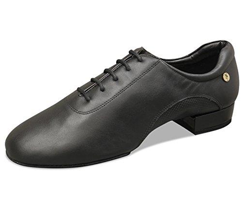 Aplus Män Balsal Dansskor A4012 Med En Klack Svart Läder