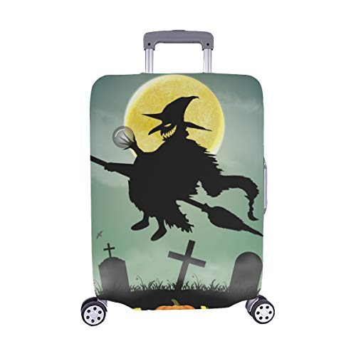 Halloween Silhouette Flying Witch Night Graveyard Spandex Trolley Case Travel Luggage Protector Suitcase Cover 28.5 X 20.5 -