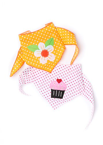 Tail Trends 2 Pack Designer Dog Bandana with Cupcake and Daisy Applique fits Small to Medium Dogs - 100% Cotton