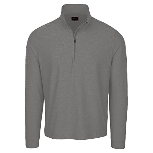 (Greg Norman HEATHER 1/4 ZIP MOCK PULLOVER MENS GOLF GREY HEATHER SIZE XL)