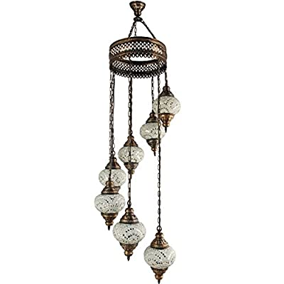 Chandelier, Ceiling Lights, Turkish Lamps, Hanging Mosaic Lights, Pendant, White Glass, Color Glass, Moroccan Lantern, 7 Bulbs