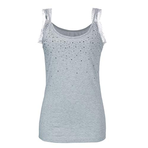 Rhinestone Lace Vest, QIQIU 2019 Women's Sexy Patchwork Fitted Tank Tops Fashion Solid Halter Shirt Blouse Camisole Grey
