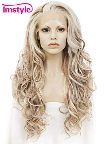 Blonde Witch Wig - Imstyle Highlights Blonde Lace Front Wigs Long Wavy Synthetic Heat Resistant Wig For Women 3 Tone Mixed Color Hair Natural Hairline Part Freely 26 Inch