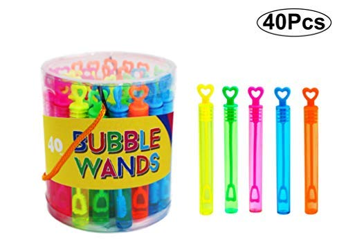 SKKSTATIONERY 40 Pcs Bubble Wands, Assortment Neon, Party Favors, Summer Gifts, Bubbles Fun Toys -