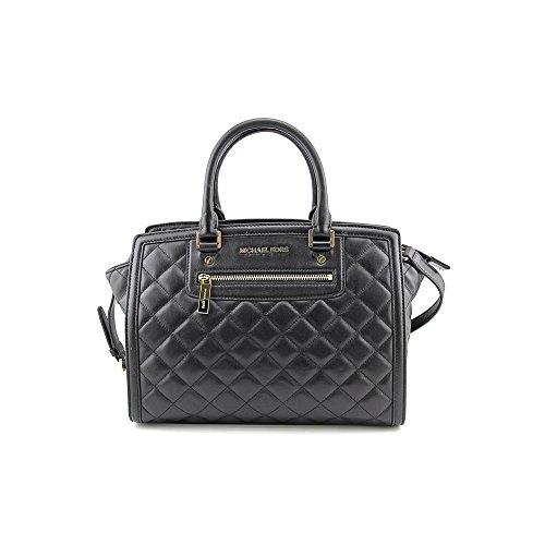 (MICHAEL Michael Kors Women's Selma Quilted Large Two Zip Satchel, Black, One Size)