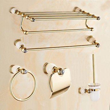 BSF contemporain Crème Pierre Doré Laiton 5 pcs accessoire de salle de bain Ensemble de barre de serviette de Porte-