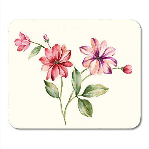 Mouse Pads Watercolor Gouache Blossom Graceful Flowers The Leaves and Drawing Mouse Pad for notebooks, Desktop Computers mats Office Supplies