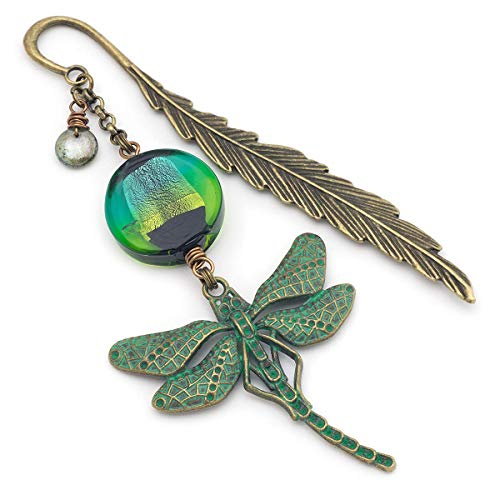 Green Patina Dragonfly Venetian Glass Antique Bronze Feather Metal Unique Bookmark 4.3 Inches