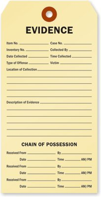 Evidence and Chain of Possession Tag, 100 Tags / Pack, 6.25