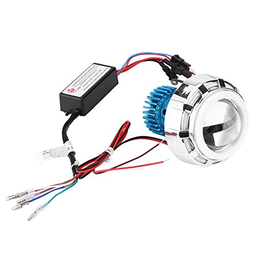 Keenso Motorcycle 12V High/Low Beam Projector Lens Halo Ring Headlight LED Dual Angel Devil Eyes - Zone Tech Work Light 18w