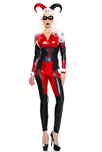 Music Legs Women's Dark Harley Jester, Black/red 8, XSmall