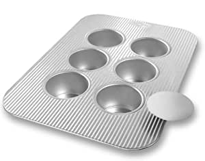 USA Pan Bakeware Mini Cheesecake Pan with Removable Bottom, 6 Well, Nonstick & Quick Release Coating, Made in the USA from Aluminized Steel