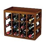 12 Bottle Cube-Stack Wine Rack -Walnut Stain