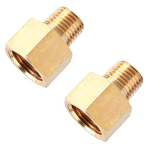 SUNGATOR Brass Pipe Fitting, Reducer Adapter, 1/4-Inch Male Pipe x 3/8-Inch Female Pipe (2-Pack)