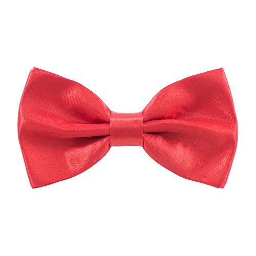 - Satin Classic Pre-Tied Bow Tie Formal Solid Tuxedo, by Bow Tie House (Small, Red)