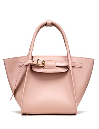 LA'FESTIN Designer Leather Work Tote for Women Fashion Elegant Kelly Handbags Pink - with Child Zipper Pocket & Leather Buckle ()