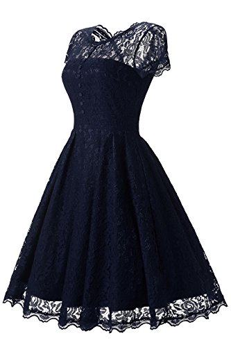 Lanierwedding Women's Floral Lace Prom Dresses Short 2017 Cap Sleeve Retro Vintage Swing Dress Cocktail Dresses, Navy XL