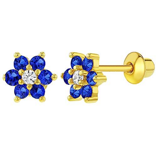 18k Golden Earrings - 18k Gold Plated Navy Blue Clear Crystal Flower Children Screw Back Earrings 5mm