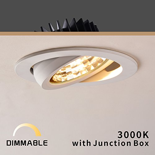 OBSESS 4'' LED Recessed Downlight with Junction Box, 12W Dimmable LED Ceiling Light Fixture, 3000K Warm White, 900 Lumen, 2 Years Warranty - Lighting 4' Eyeball Trim