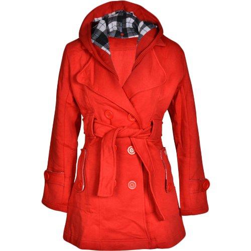 Fashion Wardrobe Ladies Belted Button Hood Jacket Coat Womens 8 10 12 14 (USA 8/UK 10 (Medium), Red)