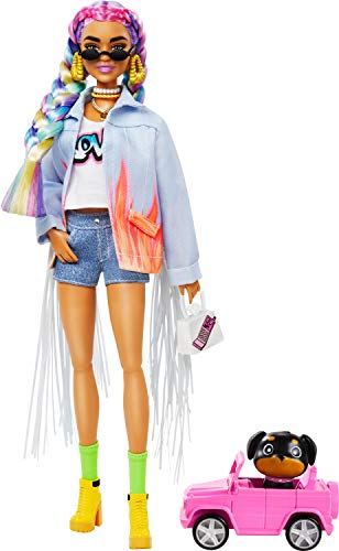 Barbie Extra Doll #5 in Long-Fringe Denim Jacket with Pet Puppy, Rainbow Braids, Layered Outfit & Accessories Including Car for Pet, Multiple Flexible Joints, Gift for Kids 3 Years Old & Up