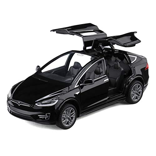 Diecast Toy Car Model X,Zinc Alloy Casting Pull Back Vehicles,1:32 Scale for 3 to 12 Years Old Toddlers Kids Toy Gift - with Lights and Music (Black)