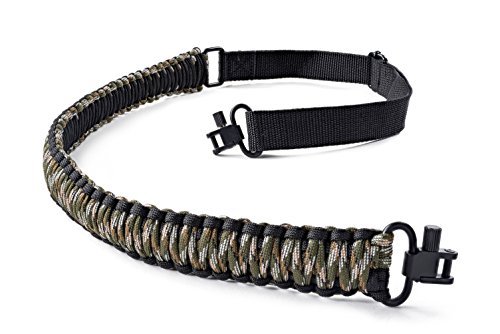 SREMMOS TM Two Point Rifle Sling with Swivels, Heavy Duty Gun Sling, Paracord Sling for Rifle, Multiple Colors (Black and Green Camo)