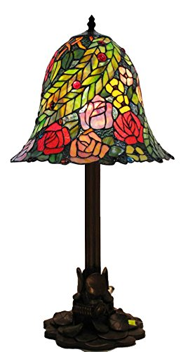 Whse of Tiffany WSC123031/DF1257 Tiffany-Style Talia Water Lily Table Lamp - Lily Tiffany Style Accent Table