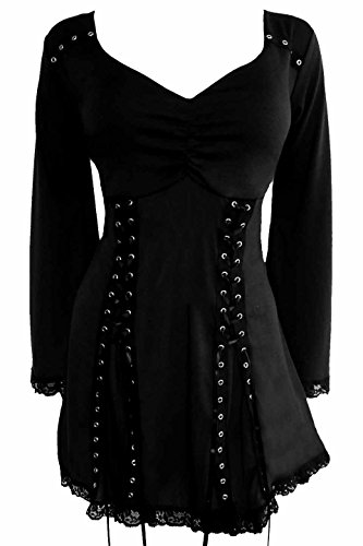 Dare to Wear Electra Corset Top: Victorian Gothic Steampunk Plus Size Women's Shirt for Everyday Halloween Cosplay Festivals, Raven 4X ()