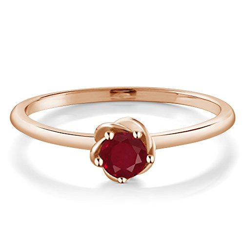 10K Rose Gold Solitaire Engagement Ring 0.30 Ct Round Red Ruby