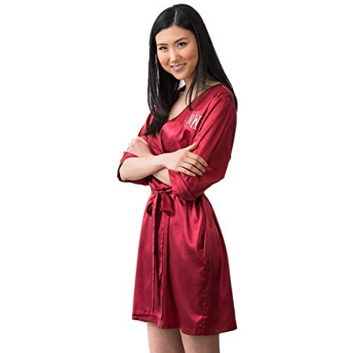 Weddingstar Inc. Women's Satin Robe with Pockets - Ruby Red ()