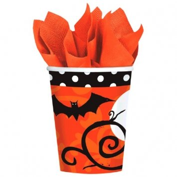 Halloween Paper Cups is one of our favorite fun camping Halloween decorations for your campsite and ideas for decorating your RV