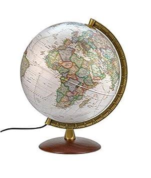 Holzfu/ß PAL 3010 Antikstil: Antikdesign-Leuchtglobus 30 cm messingfarbener Metallmeridian Alter Globus aktuelle politische Karte