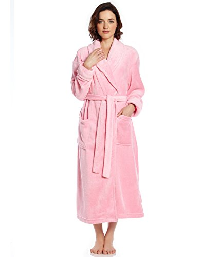 Leveret Womens Fleece Robe Light Pink Size (Pink Womens Robe)