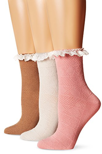 Muk Luks Women's Woven Texture Lace Top 3 Pack Crew, Multi, One ()