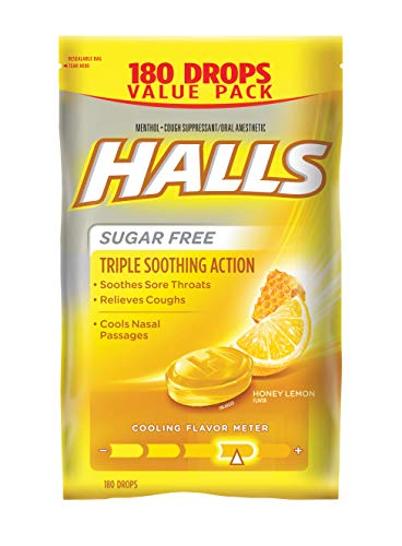 180 Lozenges - Halls Sugar Free Cough Suppressant, Honey-Lemon, 180-Drop Bag