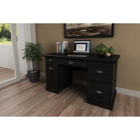Excellent Home Office Computer Desk, Flip Down Keyboard Tray and Filing Drawers for Extra Storage Space, Easy Access to Your Office Supplies, Sturdy Construction + Expert Guide (Black Ebony Ask) -