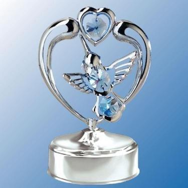 Chrome Hummingbird in heart Music Box - Blue Swarovski Crystal ()
