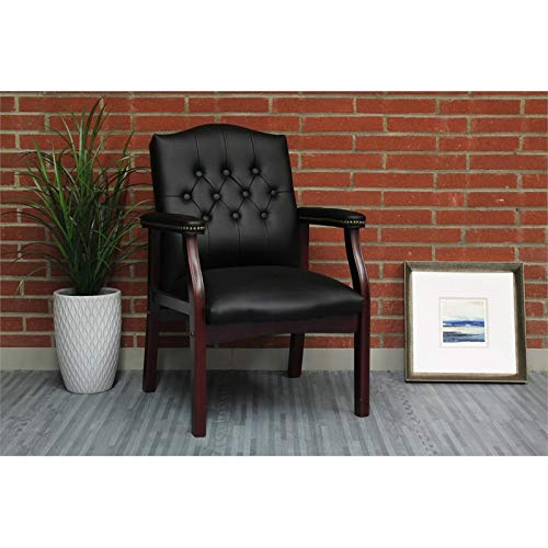 Pemberly Row Faux Leather Tufted Guest Chair in Black