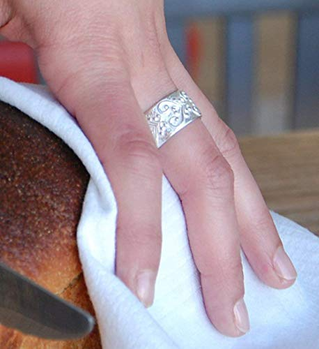 - Unique Handmade Etched Patterned Vintage Cigar Sterling Silver 925 Wide Wedding Promise Band Ring For Her