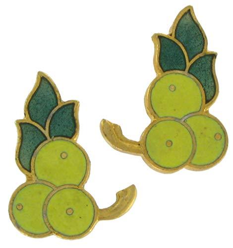 Yellow Berries Fruit Cloisonne Stud Pierced Earrings For Women Set