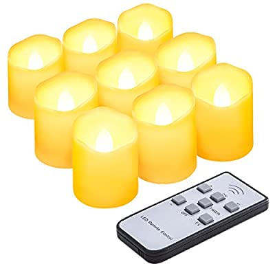 ORIA Flameless Candles, LED Candle Light Sets, Realistic Tea Light, Flickering LED Light, 3 Modes & Remote Control, Battery Operated, Decroation for Home Decor, Weddings, Festival, Parties, Set of 9